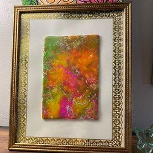Resin+ fluid + glitter art with frame